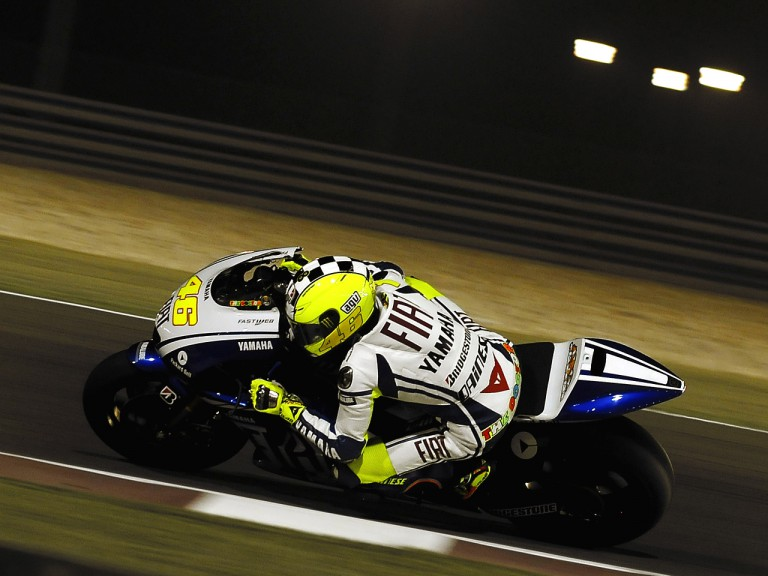 Valentino Rossi in action at the Losail International Circuit