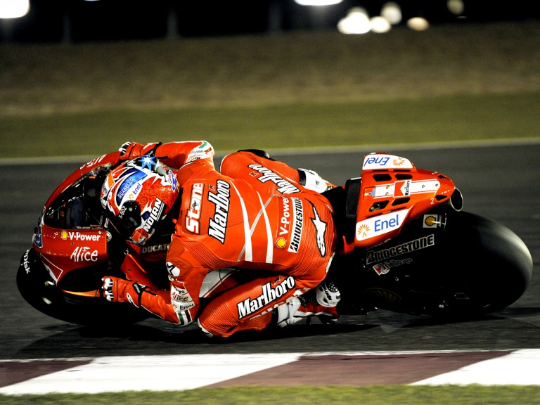 Casey Stoner on track at the Qatar night Test