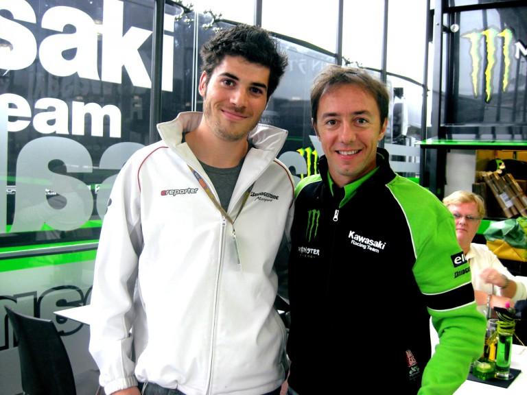 Bridgestone e-reporter Guillaume Navarro and Olivier Jacque at the 2008 Valencian GP