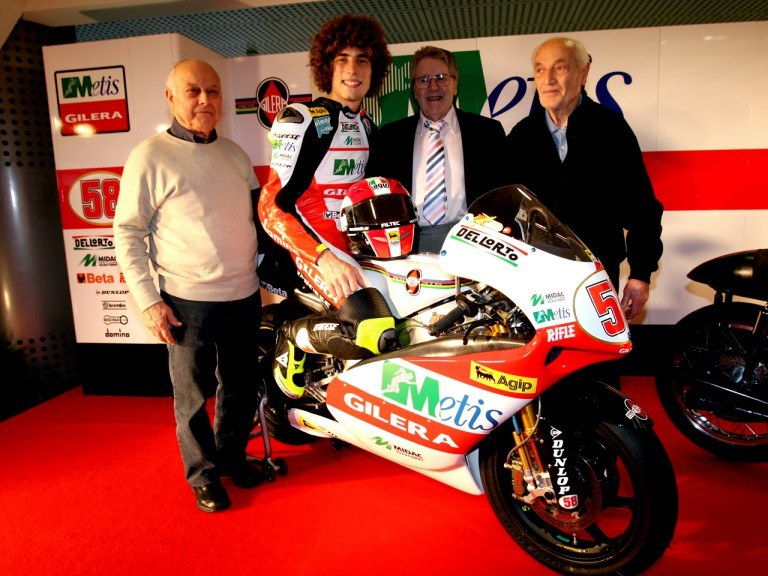 Marco Simoncelli with Alfredo Milani, Remo Venturi & Geoff Duke at the Gliera 100th anniversary celebration