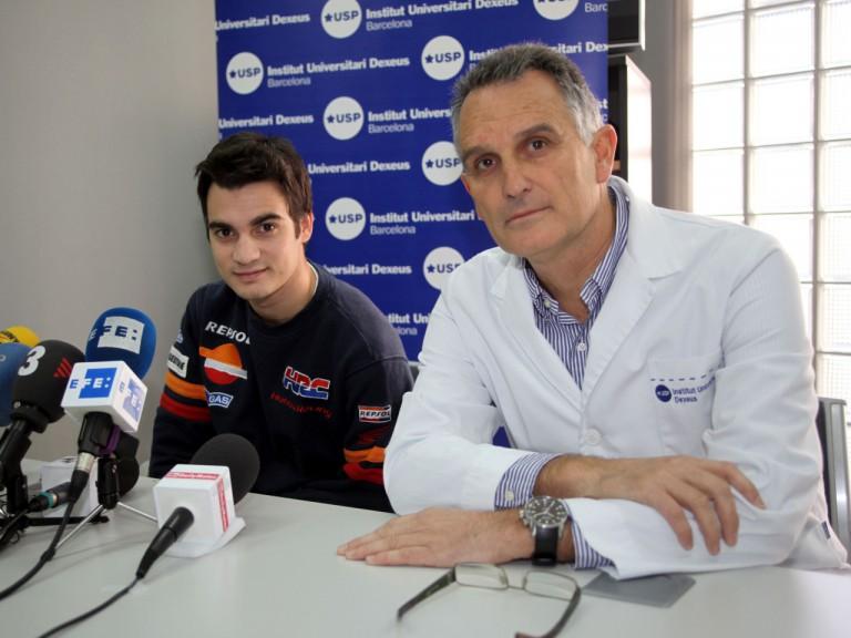 Dani Pedrosa and Dr Xavi Mir at the USP Institut Universitari Dexeus in Barcelona