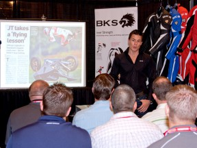 James Toseland at Daytona 200 event with leather suppliers BKS
