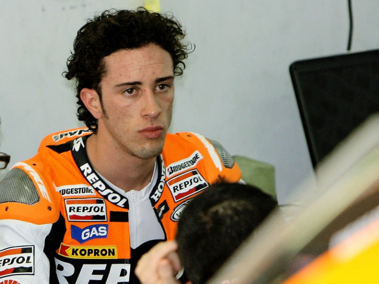 Repsol Honda Andrea Dovizioso in the garage