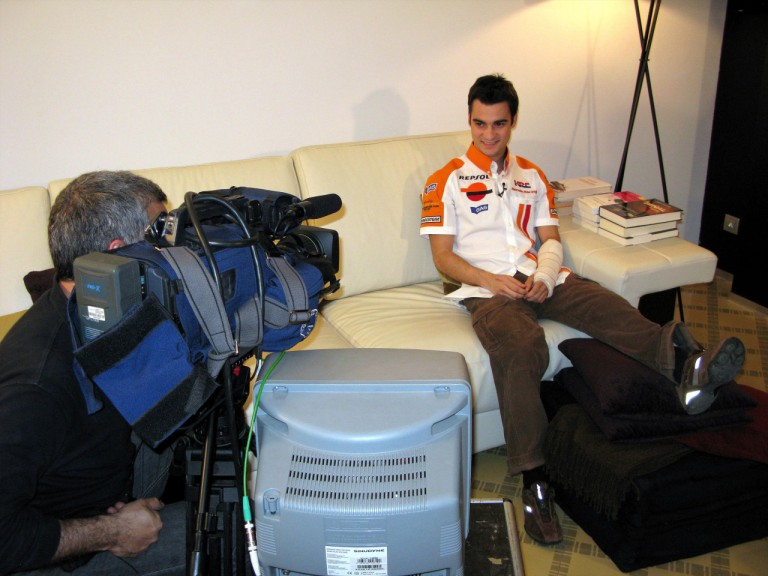 Dani Pedrosa taking part in the Repsol Honda presentation through videoconference