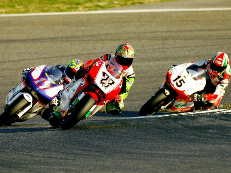 Gabor Talmacsi riding ahead of Abraham and Locatelli at Estoril Test