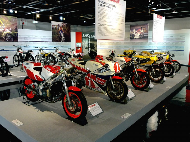 History racing bike exposition at Yamaha Communication plaza