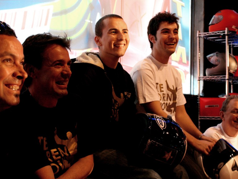 Jorge Lorenzo and colleagues at Barcelona karting event