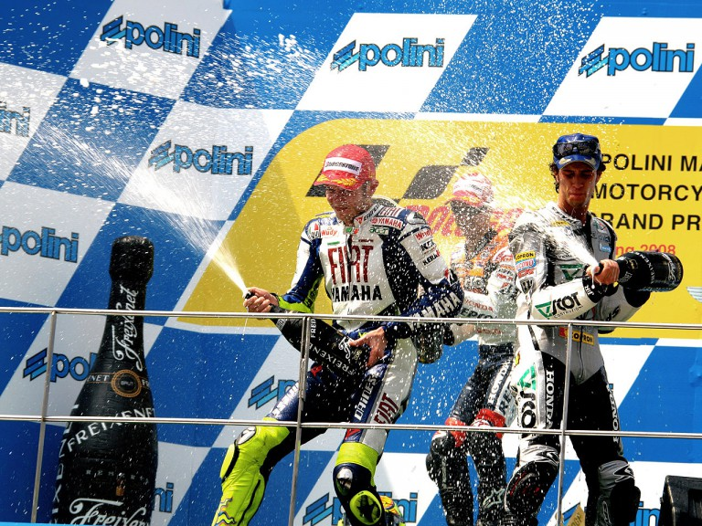 Valentino Rossi, Dani Pedrosa and Andrea Dovizioso celebrating podium at Sepang