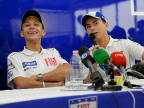 Valentino Rossi and Jorge Lorenzo at the Fiat Yamaha Press conference