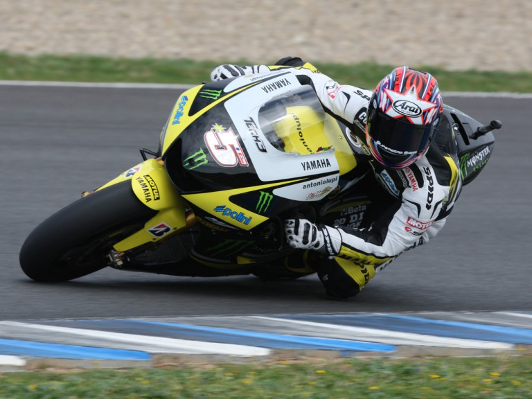 Colin Edwards in action at the Official MotoGP Test in Jerez
