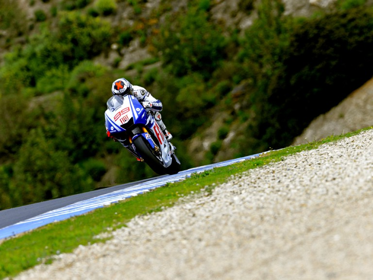 Jorge Lorenzo in action at the Official MotoGP Test in Jerez