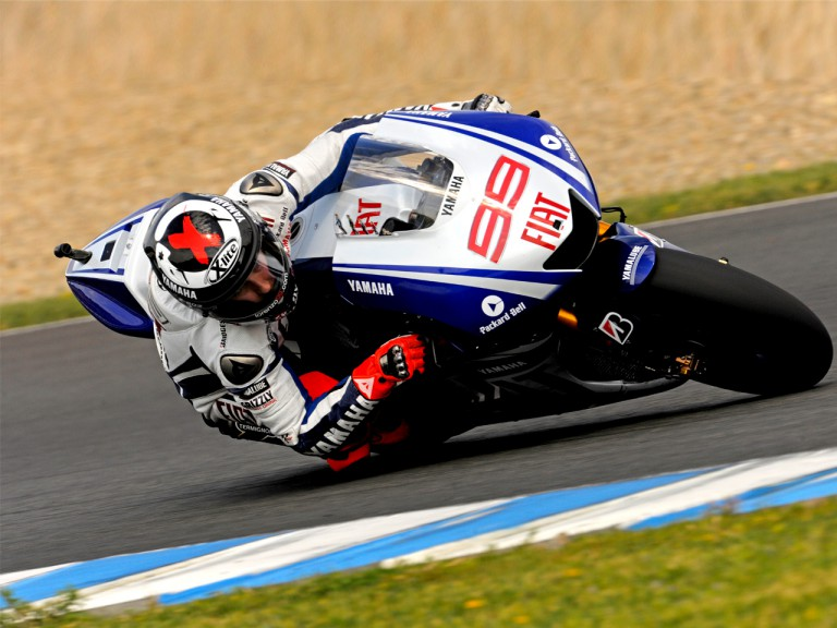 Jorge Lorenzo on track at the Official MotoGP Test in Jerez