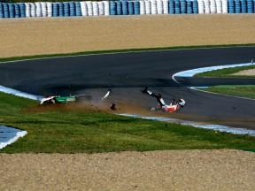 Alex de Angelis crashes at Official MotoGP Test