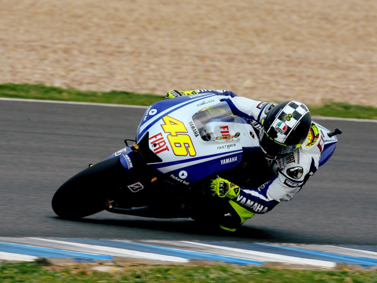 Valentino Rossi in action at the Official MotoGP Test