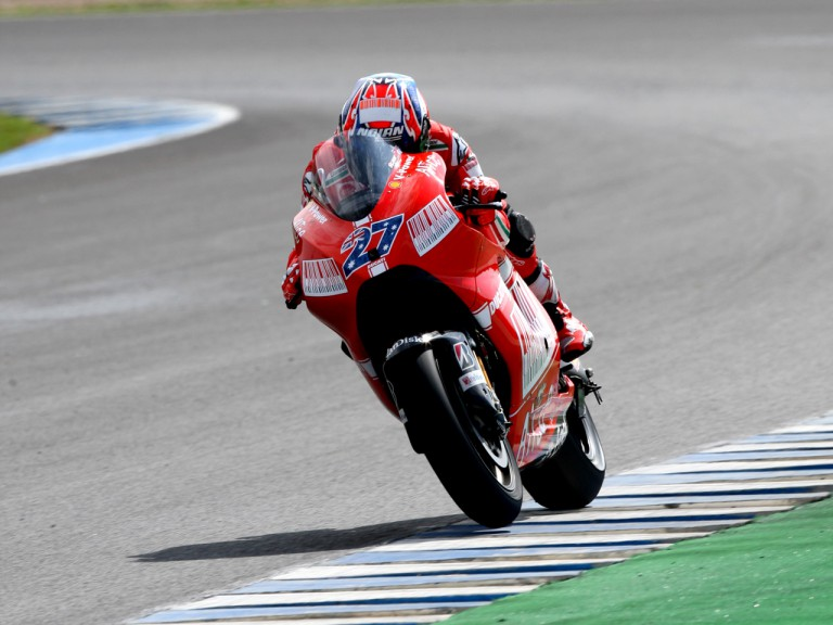 Casey Stoner on track at the Official MotoGP Test in Jerez