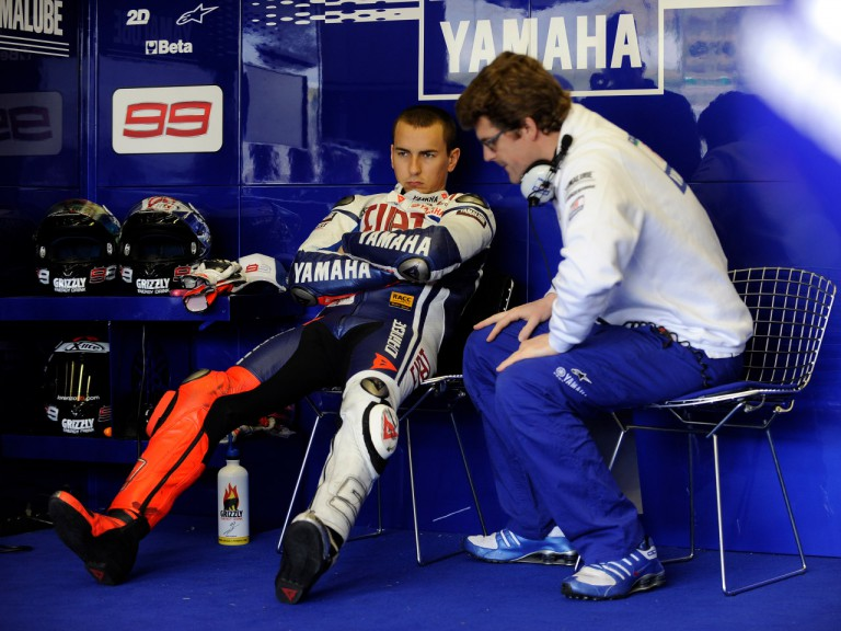 Fiat Yamaha's Jorge Lorenzo in his box