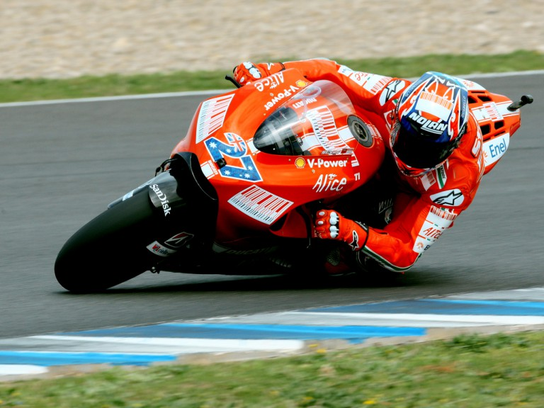 Casey Stoner in action at the Official MotoGP Test in Jerez