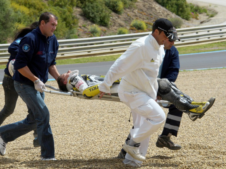 James Toseland crashes at Official MotoGP Test