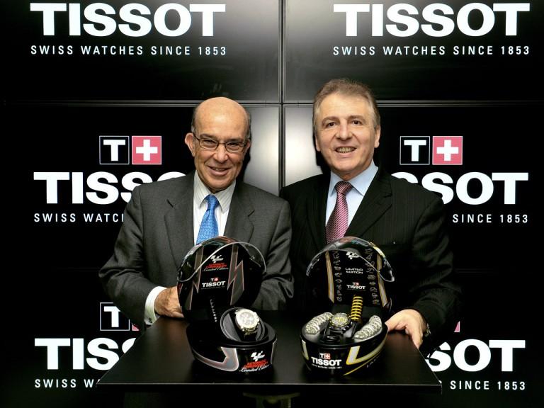 Dorna CEO Carmelo Ezpeleta with Tissot president François Thiébaud