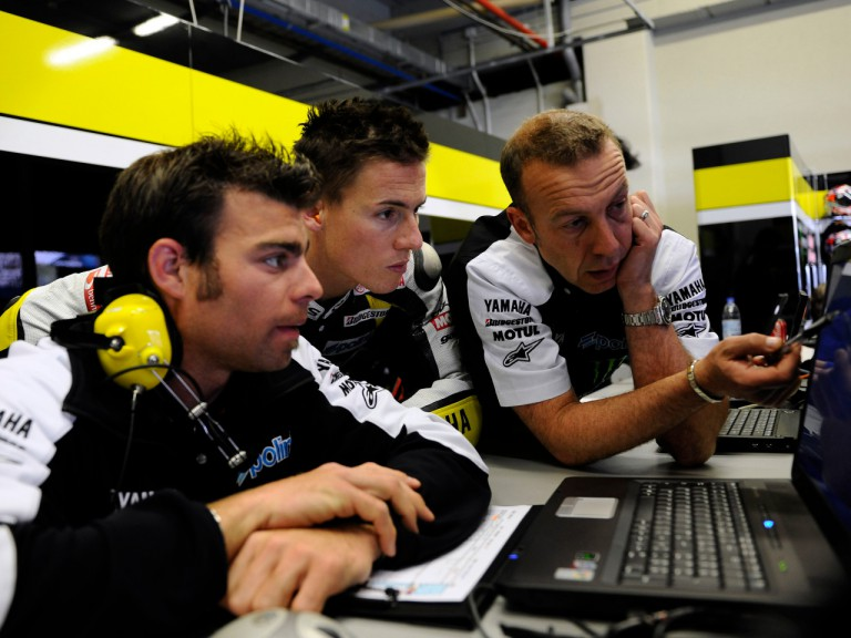 James Toseland in the Monster Yamaha Tech 3 garage with his crew