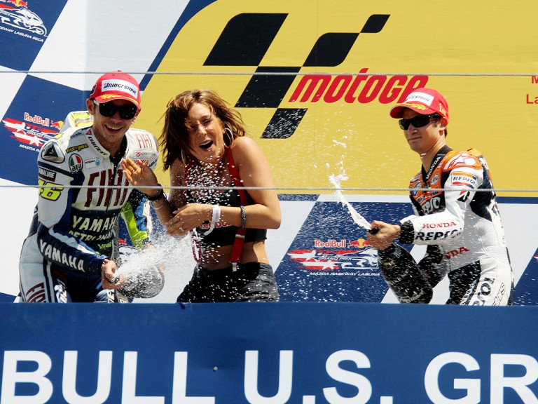 Valentino Rossi and Dani Pedrosa celebrating podium at the Red Bull U.S. Grand Prix