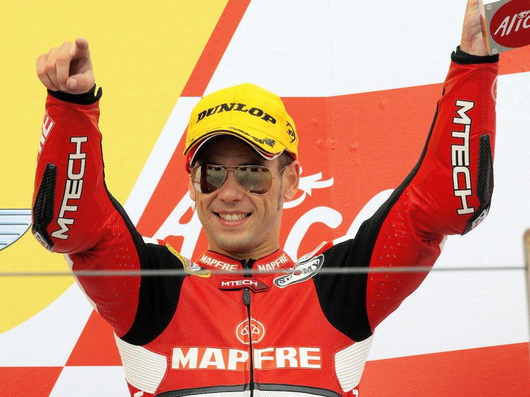 Alvaro Bautista on the podium in Sachsenring