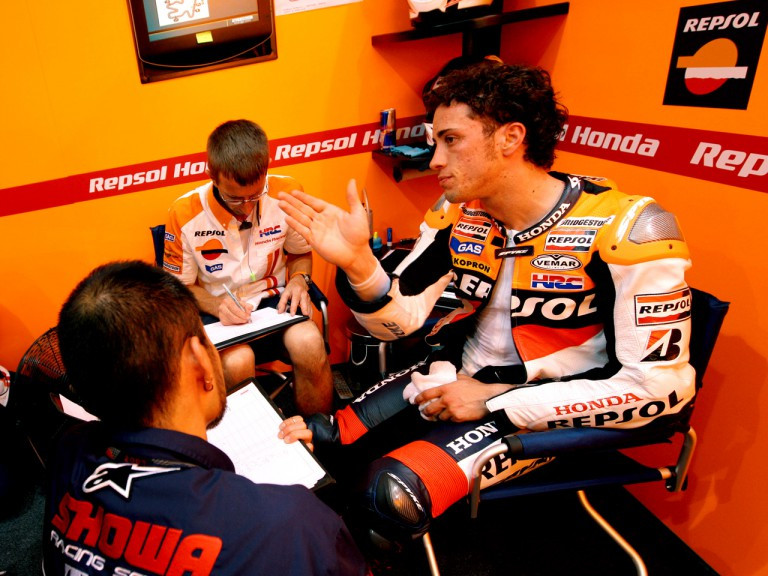 Andrea Dovizioso in the Repsol Honda garage