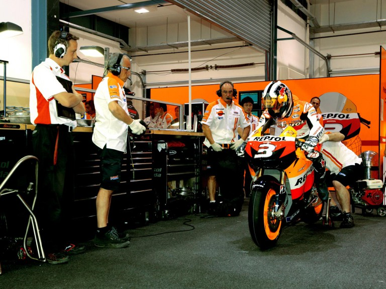 Dani Pedrosa in the Repsol Honda garage
