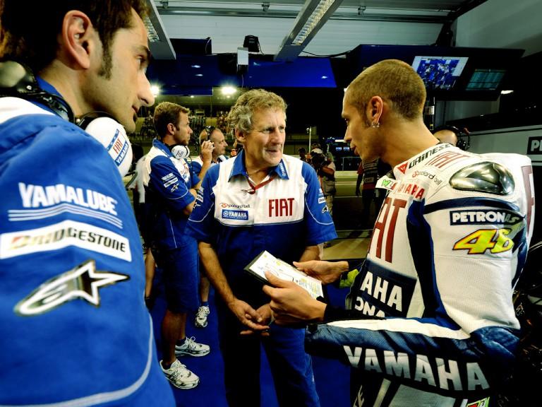 Valentino Rossi in the Fiat Yamaha garage