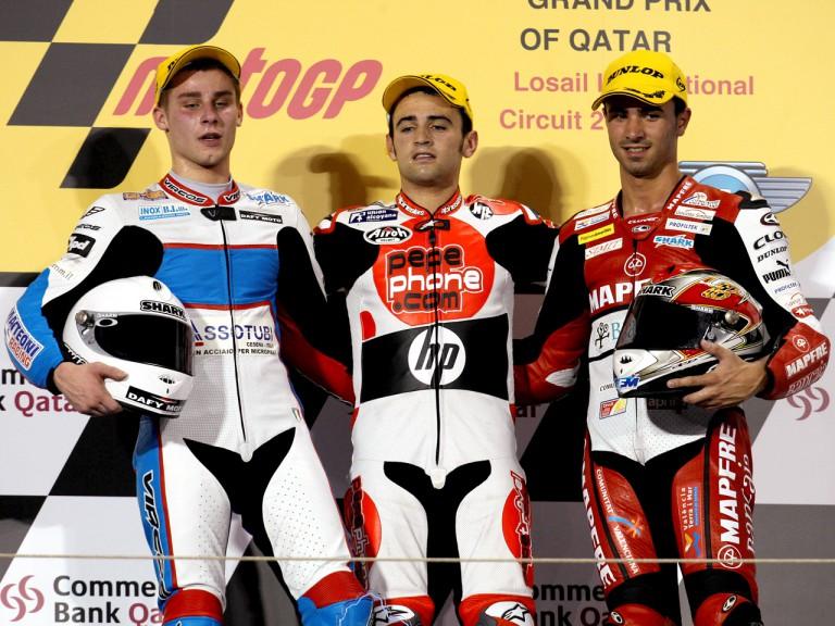 Jules Cluzel, Héctor Barberá and Mike di Meglio on the podium at Qatar