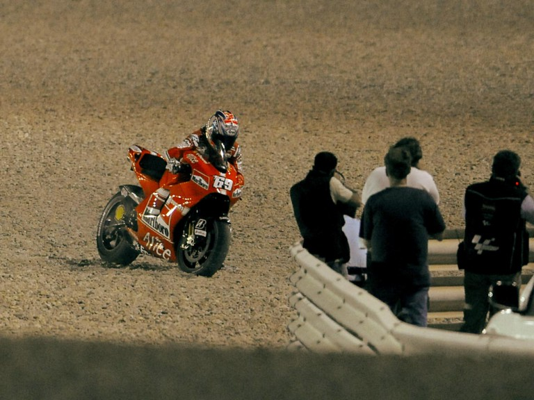 Nicky Hayden after crash during QP at Losail Circuit