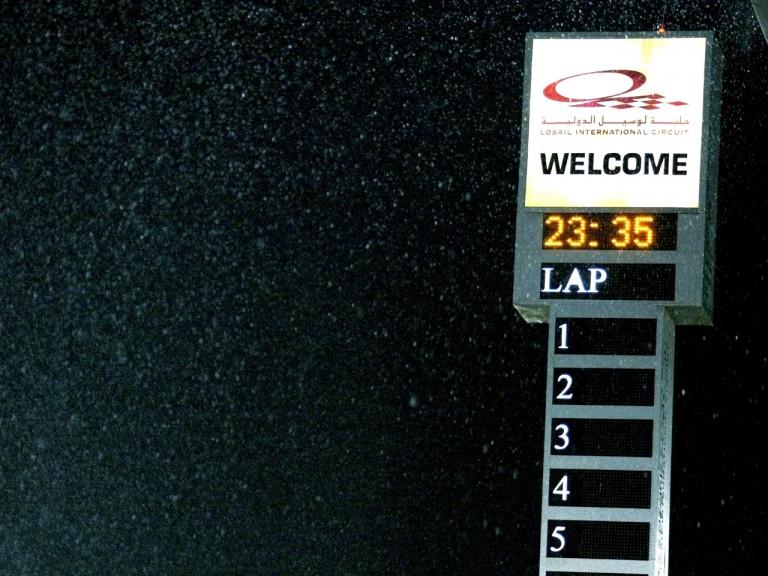 Rainy night at Losail International Circuit