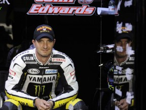 Colin Edwards in the Monster Yamaha Tech3 garage
