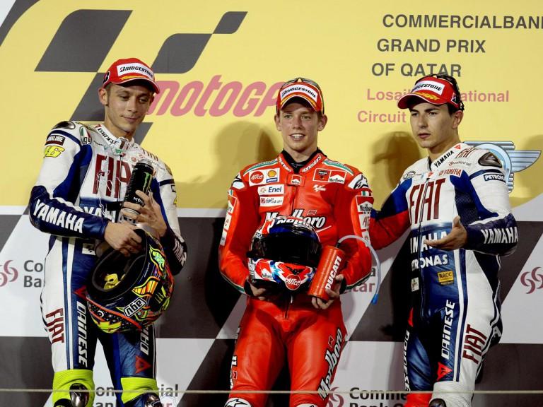 Valentino Rossi, Casey Stoner and Jorge Lorenzo on the podium at Qatar
