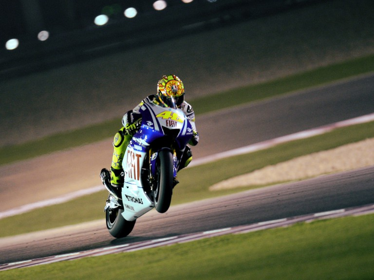 Valentino Rossi pulls off a wheelie in Qatar