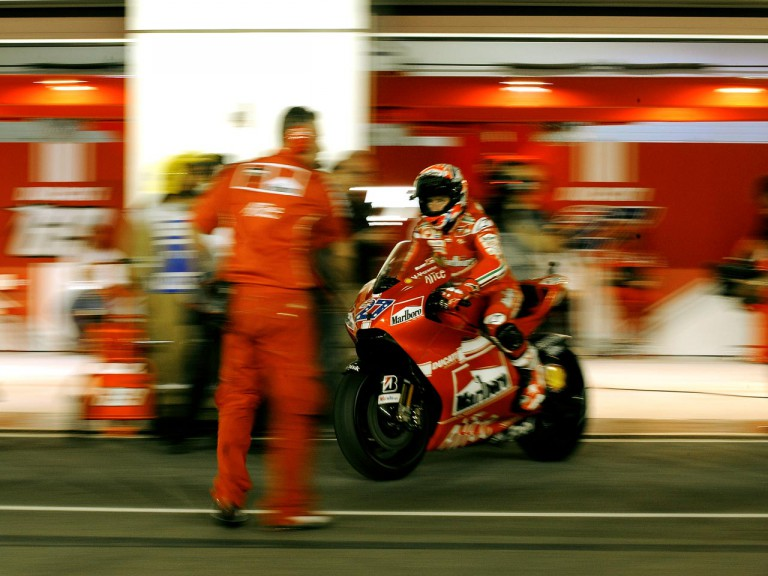 Casey Stoner leaving the Ducati garage