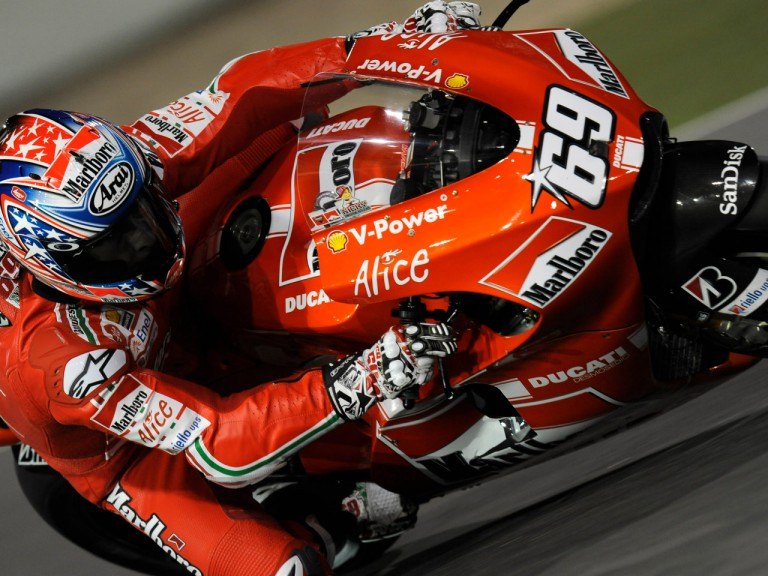 Nicky Hayden in action at Losail