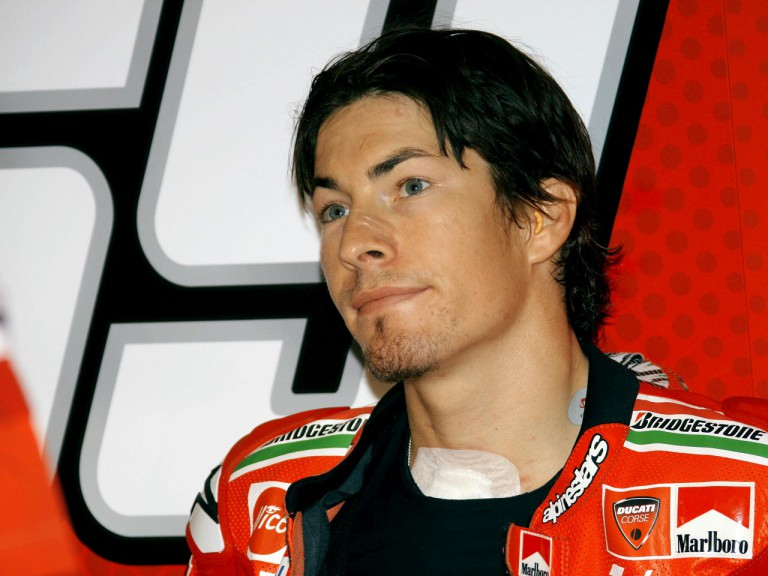 Nicky Hayden in the Ducati garage