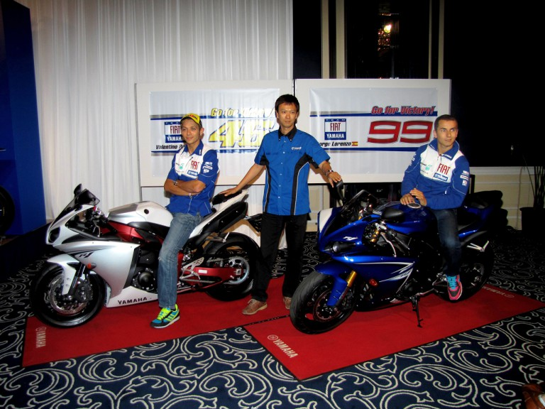 Valentino Rossi and Jorge Lorenzo in Yamaha preevent in Motegi