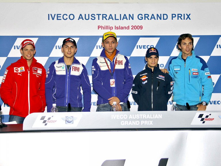 MotoGP riders at the Iveco Australian Grand Prix press conference