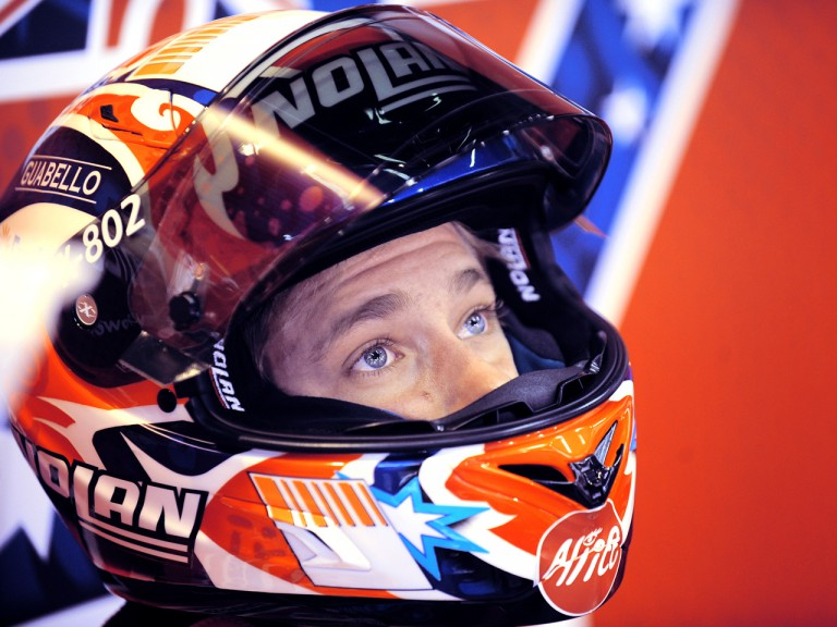 Casey Stoner in the Ducati garage