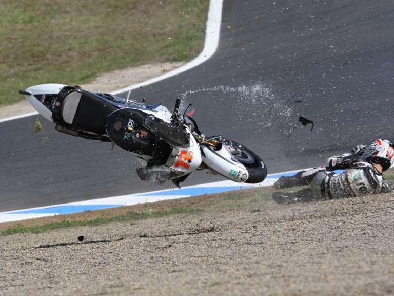 Hayden and Takahashi crash during MotoGP race in Motegi
