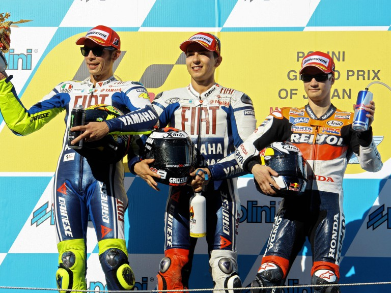 Valentino Rossi, Jorge Lorenzo and Dani Pedrosa on the Podium at Motegi