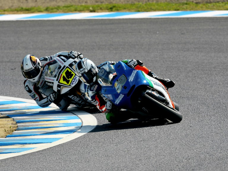 Sete Gibernau and Randy de Puniet in action in Motegi