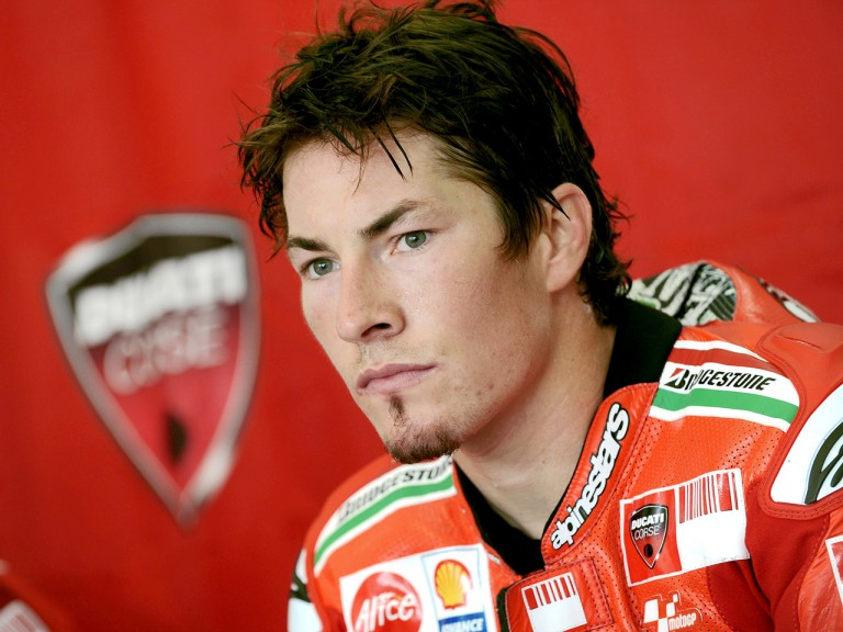 Ducati´s Nicky Hayden in garage