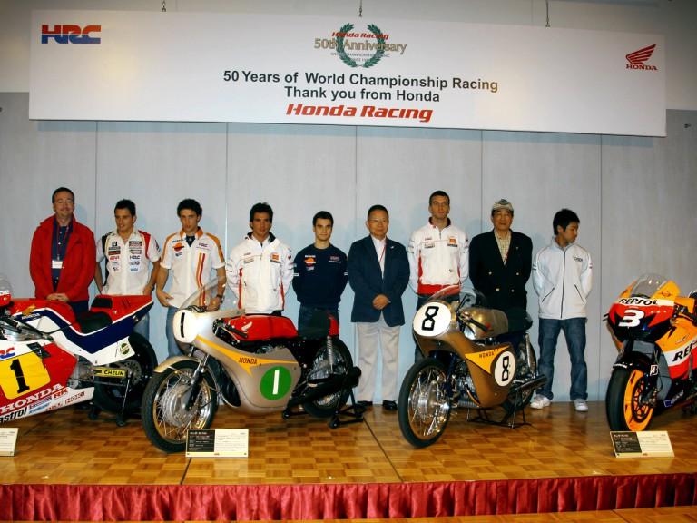 MotoGP Honda riders and Honda executives at 50th aniversary in Motegi