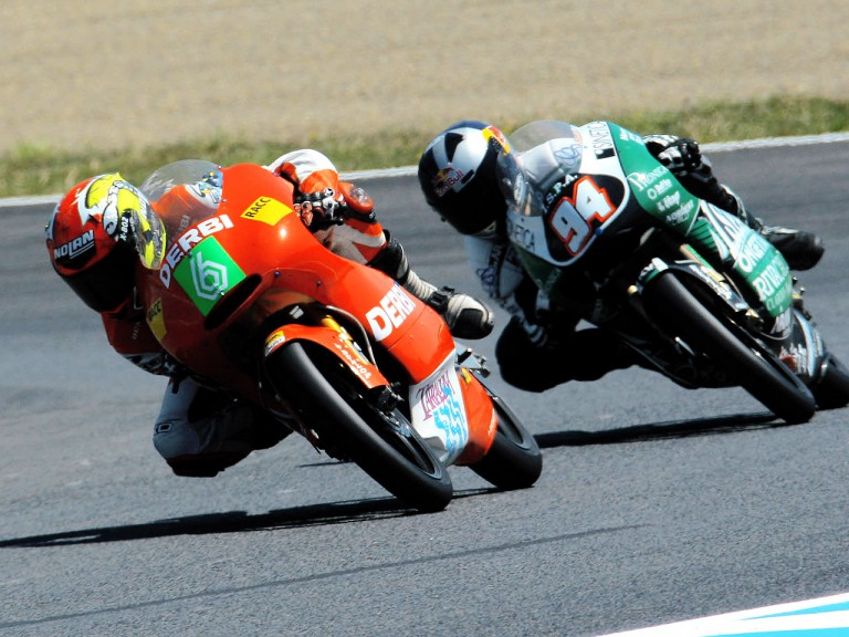 Joan Olive riding ahead of Jonas Folger in Motegi