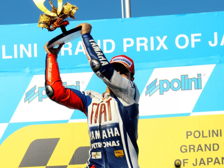 Jorge Lorenzo on the podium at Motegi