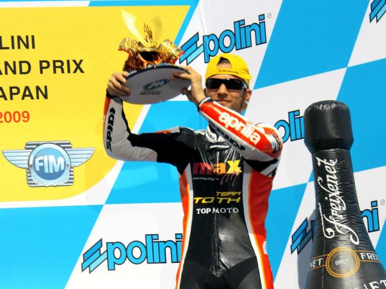 Mattia Pasini on the podium at Motegi