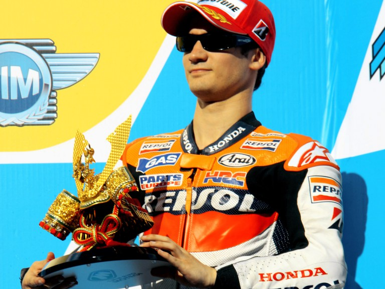 Dani Pedrosa on the podium at Motegi